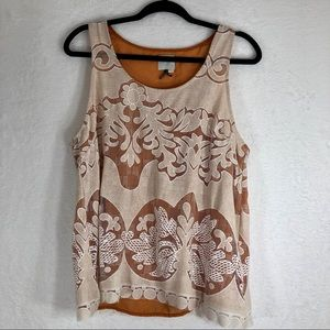 Anthropologie HD in Paris Brown/Cream Tank Top